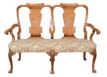 A double chairback sofa in George II style , late 19th century, 104cm high