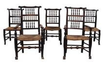 A harlequin set of ten Lancashire ladderback chairs, late 18th century