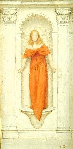 Thomas Cooper Gotch N.E.A., R.B.A., R.I. (1854-1931) 'A Jest' Watercolour Signed lower right 47cm x 23cm The figure depicted is Gotch's daughter, Phyllis (see illustration)