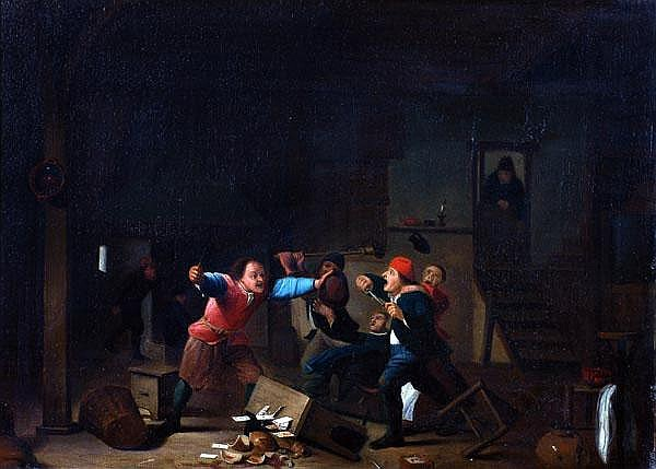 Manner of Adrian Van Ostade A brawl in a tavern