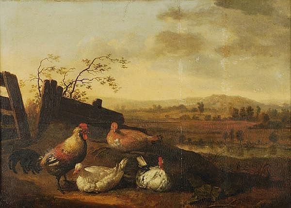 Circle of Aelbert Cuyp (1620-1691) Cock and hens