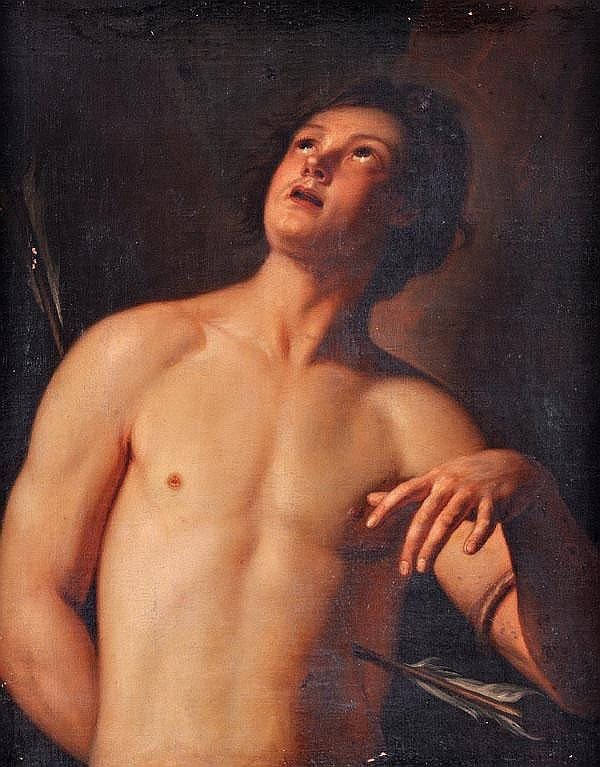 Follower of Guido Reni St. Sebastian Oil on