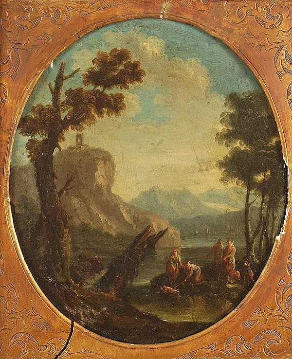 Circle of Marco Ricci The finding of Moses Oil on