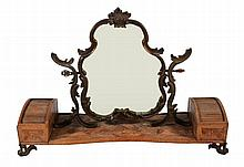 A French marquetry inlaid kingwood dressing table mirror