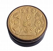 A French wood and gilt metal circular bonbonniere box