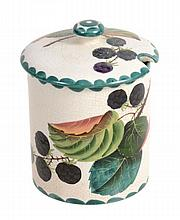 A Wemyss preserve jar and cover, circa 1900, painted with blackberries