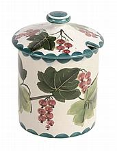 A Wemyss preserve jar and cover, circa 1890-1900, painted with red currents
