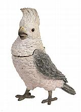 An Austrian cold painted bronze inkstand cast as a cockatoo, early 20th century