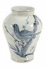 A Korean blue and white 'Bird' jar, Choson Dynasty, 19th century
