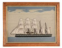 A framed and glazed long-stitch wool-work picture of a Minotaur-class...