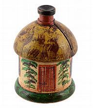 A rare Tunbridge ware silk ribbon box of house type, circa 1840