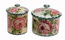 A Wemyss biscuit jar and cover, circa 1900 , painted with pink roses