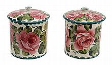 Two Wemyss large preserve jars and covers, circa 1900, painted with pink roses
