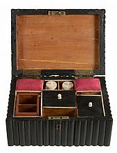 An Anglo-Indian horn veneered sandalwood sewing casket, circa 1830