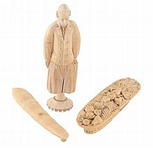 Three 19th century ivory novelty needle or bodkin cases, comprising