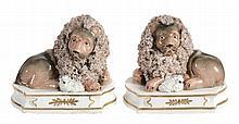 A pair of John & Rebecca Lloyd of Shelton models of recumbent lion and lamb...