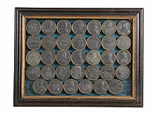 A George III cased set of thirty-four commemorative medallions