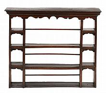 An oak delft rack, in 18th century style, 19th century with a moulded...