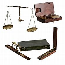 Four various boxed sets of portable sovereign scales, 19th century