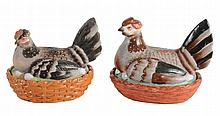 A Staffordshire pottery hen tureen and base, late 19th century