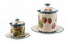 A Wemyss preserve jar and cover, circa 1900, pianted with strawberries, 11