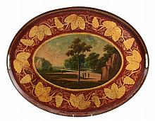 A French red and parcel gilt tole peinte oval tray, circa 1820