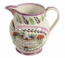 A Sunderland pottery pink-lustre dated commemorative jug