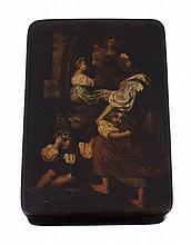 A German papier mache rectangular snuff box, 1830s