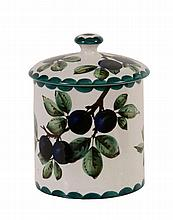A large Wemyss preserve jar, circa 1900, painted with purple damsons