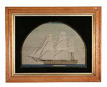 A framed and glazed woolwork picture of the Royal Naval ship of the line