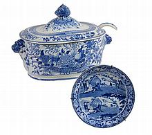 A Staffordshire pearlware blue and white printed shaped oval tureen