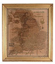 A large sampler map of the counties of England and Wales , mid 19th century