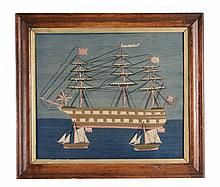A framed and glazed long-stitch wool-work picture of a Royal Naval third or...