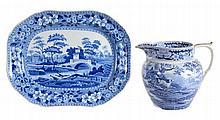 A large British blue and printed pottery Dutch jug, circa 1820