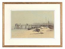 Edward Robert Smythe (1810-1899) - Fishing boats drawn up on the shingle at Yarmouth Pier