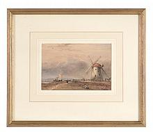 Charles Bentley (1806-1854) - Fishing boats and a windmill, near Hartlepool