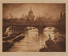 C.R.W. Nevinson (1889-1946) - A View of St. Paul's from the Thames