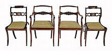 A pair of Regency mahogany and caned open armchairs, circa 1815