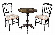 A Victorian black lacquer and polychrome painted circular occasional table
