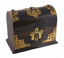 A Victorian coromandel, brass and cabochon hardstone mounted tea caddy