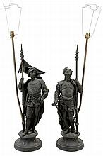 A pair of Continental spelter models of pikemen, later refitted as table lamps