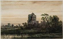 Charles Hoguet (1821-1889) - French castle in a marshland
