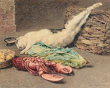 Follower of William Henry Hunt (1790-1864) - Still life with rabbit, lobster and wicker basket