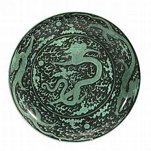 A Chinese Dragon Dish , late 20th century