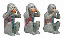 A group of three modern Chinese porcelain models of monkeys