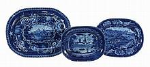 Three various Staffordshire dark-blue and white printed pottery meat dishes