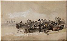 George Bryant Campion NWS (1796-1870) - Figures on Brighton beach