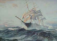 Charles Robert Patterson (1878-1958) - Shortening sail, a ship in heavy seas