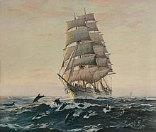 Charles Robert Patterson (1878-1958) - Under full sail, sailing ship with school of dolphins