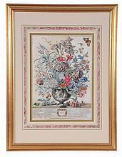 A set of twelve framed botanical prints , vases of flowers representing...